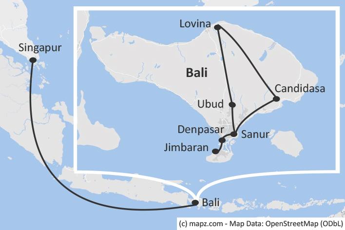 Karte Singapur und Bali
